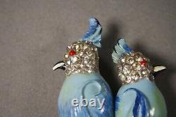 Vintage Coro Duette Blue Enamel Rhinestone Parrot Bird Pin Brooch