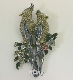 Vintage Coro Duette Enamel Rhinestone Cockatoo Birds Of Paradise Signed Brooch