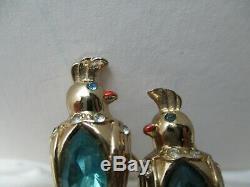 Vintage Coro Duette Love Birds Brooch Fur Clip Aqua Marquise Stone Bellies