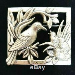 Vintage Coro Mama Bird and Baby Birds Sterling Silver Brooch Pin Large 2 inch
