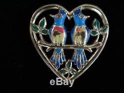 Vintage Coro Sterling Brooch Pin Birds In A Heart 1942 Adolf Katz Design 132,335