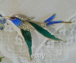 Vintage Crown Trifari Alfred Philippe Bird of Flight Brooch Enamel, Rhinestones