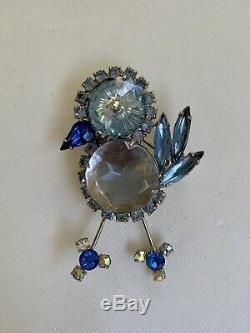 Vintage D&E Juliana Baby Bird Marquise Blue Sapphire AB Rhinestone Pin Brooch