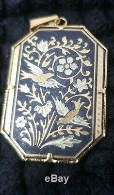 Vintage Damascene Pendant, Brooch And Earring Set Birds And Flowers