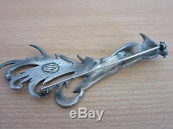 Vintage Danecraft Sterling Large & heavy 4 fancy bird / phoenix pin brooch