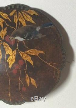 Vintage David Andersen Norway Sterling Silver Enamel Bird Tree Berries Brooch