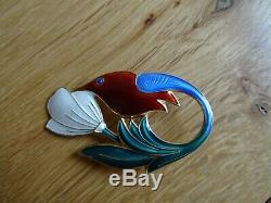 Vintage David Andersen Norway Sterling Silver Enamel Hummingbird Bird Brooch