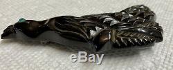 Vintage Deep Carved Bakelite Brooch Pin Crested Black Bird