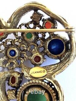 Vintage Designer Couture Jeanne Brooch Gold Birds Nest Lapis Jade Glass Pearls