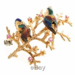 Vintage Designer Enamel Brooch with Birds & Pink Sapphires in 18 K YG Italy 2L