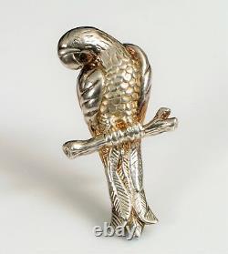 Vintage Designer Signer Carla Sterling Silver Figural Brooch Macaw Parrot Bird