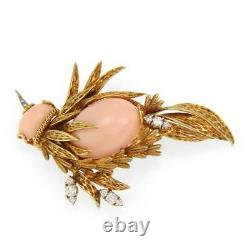 Vintage Diamond Coral 18k Yellow Gold Large Bird Brooch LIQUIDATION