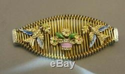 Vintage Early Coro Rhinestone & Enamel Bird Flowers Brooch Figural Pin