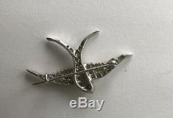 Vintage Edwardian. 925 Sterling 1.5ct. Rose Cut Diamond Bird Brooch Not Scrap Pin