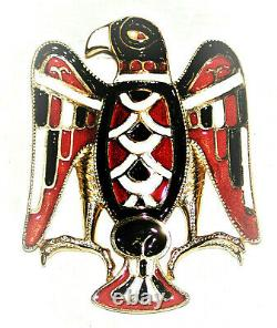 Vintage Egyptian Eagle Totem Brooch Red White Black Enamel Bird Pin Fried Paris