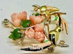 Vintage Enamel Coral, Jade & Crystal Exotic Birds Brooch