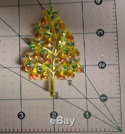 Vintage Enamel Glitter Gold Tone Christmas Tree Pear w Bird Pin Brooch