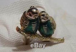 Vintage Enamel Love Birds Brooch Gold-color with Green enamel