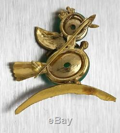 Vintage Estate 14K Yellow Gold Green Jade Jadeite Bird Chick Pin Brooch 9.0g