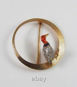 Vintage Estate 14k Gold & Platinum & Diamond Circular Enamel Bird Brooch Pin