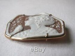 Vintage Exquisite 9 Kt Gold Cameo Brooch Pin Pendant Girl with Birds