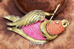 Vintage Fabrice Paris SIGNED Mixed Metal Statement Pink Parrot Bird Brooch Pin