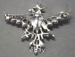 Vintage Figural Crown Trifari Shades of Blue Rhinestone Bird On A Branch Brooch