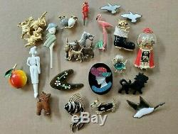 Vintage Figural brooch pin lot collection dogs birds women animals some signed