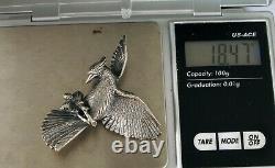 Vintage Fine Heavy Sterling Silver Bird Brooch Pin Cardinal / Blue Jay Pine Cone