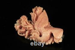 Vintage Finely Carved Pink Salmon Coral Ladies Brooch Pin Depicting Phoenix Bird