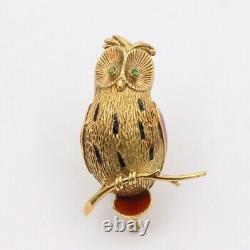 Vintage French 18K Gold and Enamel Owl Pin, Bird Brooch