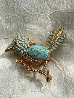 Vintage French Auriege Designer Brooch Blue Bird on a branch, Turquoise stone