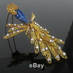 Vintage French Diamond Sapphire & Lapis Lazuli 18K Gold Hand Carved Bird Brooch