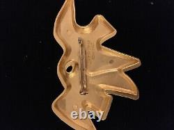 Vintage French Nina Ricci Gold Plated L'Air du Temps Double Doves Bird Brooch