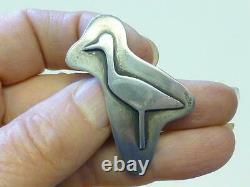 Vintage Fridl Blumenthal Modernist Sterling Silver HERON Bird Pin Brooch MCM