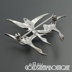 Vintage Germany Sterling Silver Marcasite Enamel Flying Birds Brooch Pin #5157
