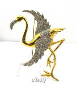 Vintage Giant Rhinestone Flamingo Brooch Pin Bird Standing on one Leg Reinad