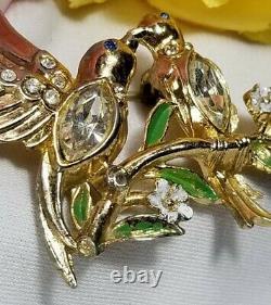 Vintage Gold Coro Love Birds Adolph Katz Rhinestone Brooch Pin