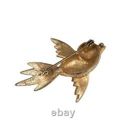 Vintage Gold Tone Bird Brooch Blue Glass Turquoise Beads Circa 1950s
