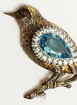 Vintage Gold Wash Sterling Silver Rhinestone Aqua Blue Crystal BIRD Brooch 2.5