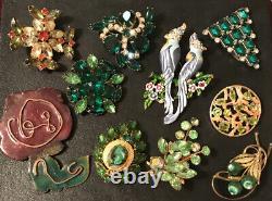Vintage Green Rhinestone Enamel Pin Brooch Lot Flower Cross Birds Of Paradise
