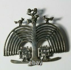 Vintage H & H Hand & Hammer Sterling Silver Birds in Tree Brooch Pin