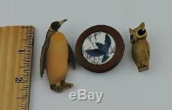 Vintage Hand Crafted Wooden Brooch Pin Lot 3 Penguin Owl Birds