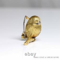 Vintage Hand Engraved Florentine Diamond Onyx 18k Chickadee Bird Brooch Pin