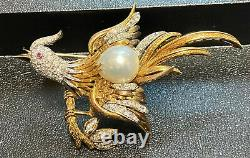 Vintage Handmade 14 K BIRD BROOCH With approx. 100 diamonds and south sea pearl