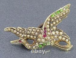 Vintage Handmade Pearl Ruby & RARE Demantoid Garnet Bird Brooch 14ct Yellow Gold