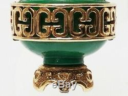 Vintage Hattie CARNEGIE Molded Jade Green Urn Bird Snake Handles Figural Brooch