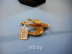 Vintage Hattie Carnagie Gold Flying Bird Brooch