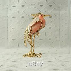 Vintage Hattie Carnegie Heron Crane Egret Bird Faux Coral Pin Brooch