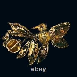 Vintage Hutton Wilkinson Rare Crystal Gold Humming Bird Wasp Pomegranate Brooch